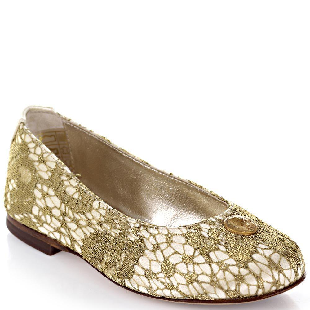 Текстильные балетки Dolce&Gabbana светло-бежевые обтянуты золотистым кружевом