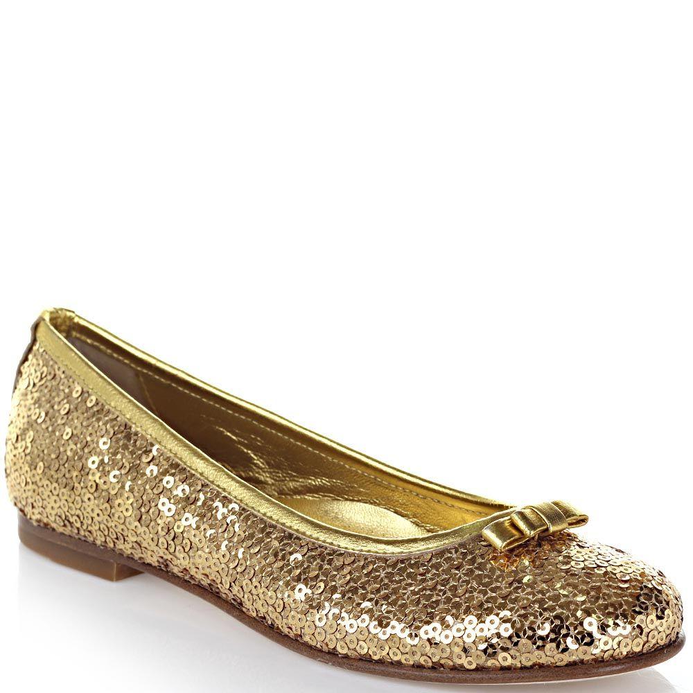 Балетки Dolce&Gabbana из кожи золотистого цвета расшиты пайетками