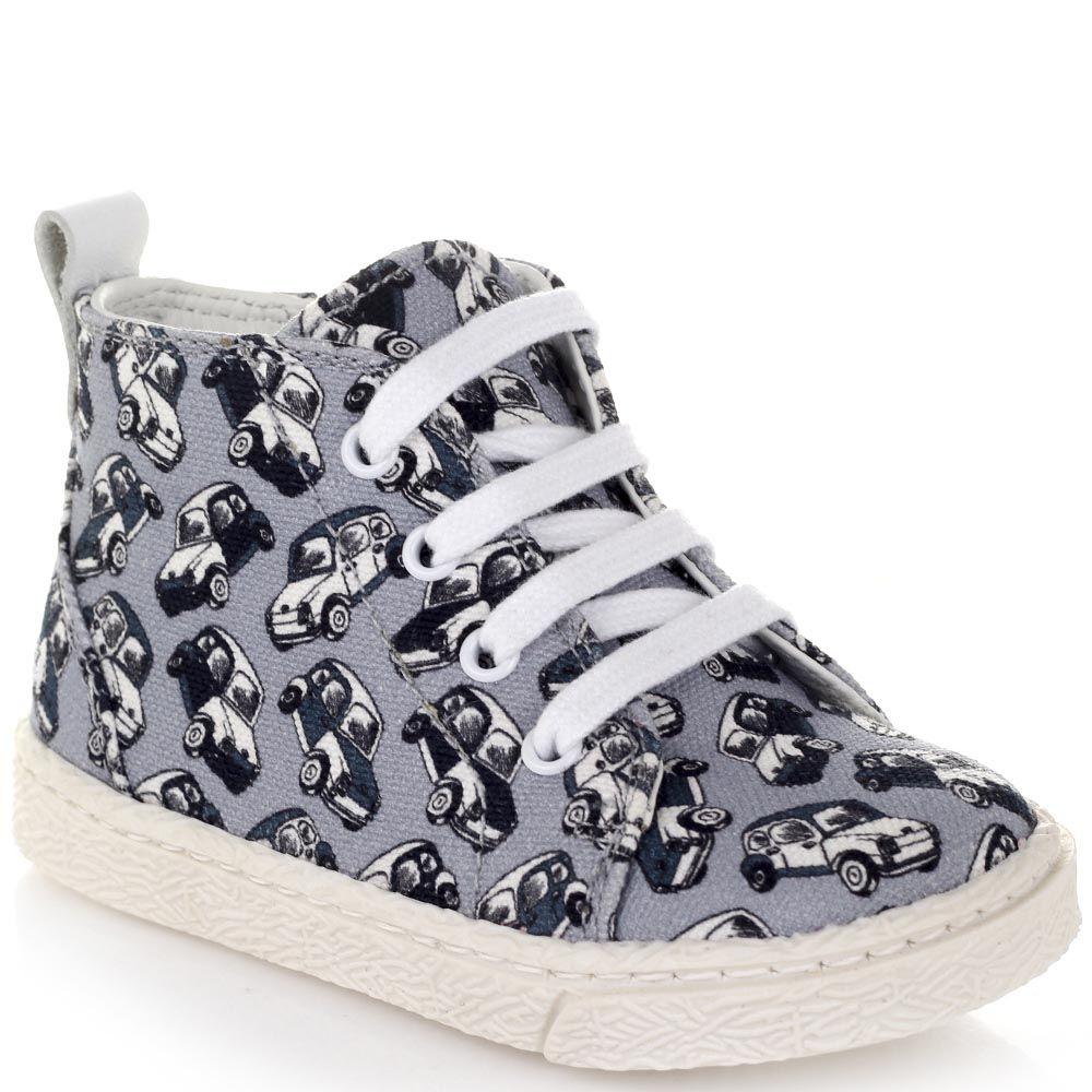 Туфли на шнуровке Dolce&Gabbana из текстиля голубого цвета с принтом в виде автомобилей