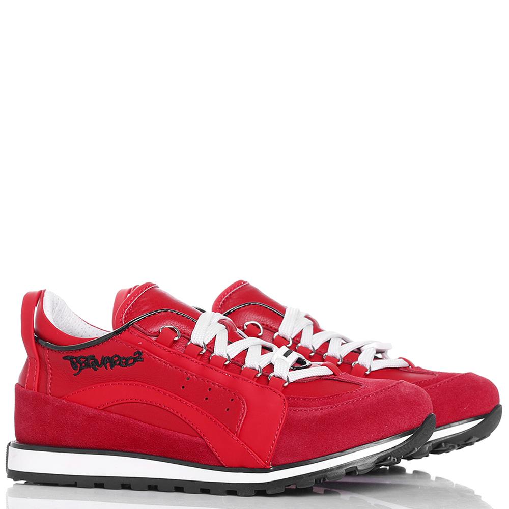 Красные кроссовки Dsquared2 из кожи и замши
