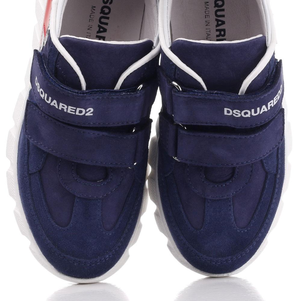 Кроссовки Dsquared2 синего цвета на липучках