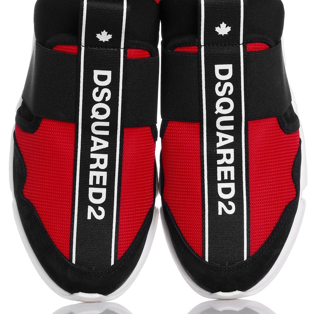 Черно-красные кроссовки Dsquared2 без шнуровки