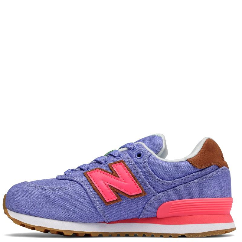 Кроссовки New Balance 574 фиолетового цвета с розовыми деталями