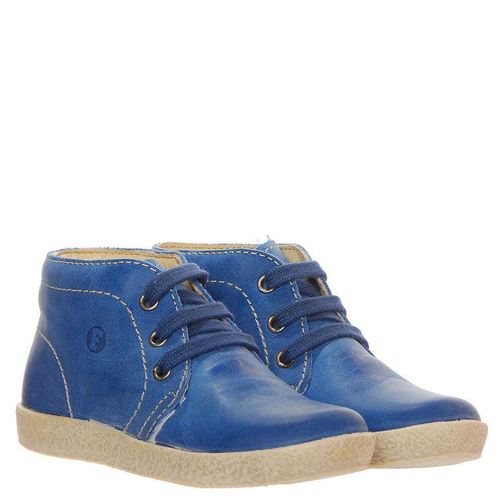 Кожаные ботинки синего цвета на меху Falcotto на шнуровке