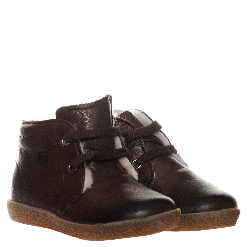 Кожаные ботинки коричневого цвета на меху Falcotto на шнуровке