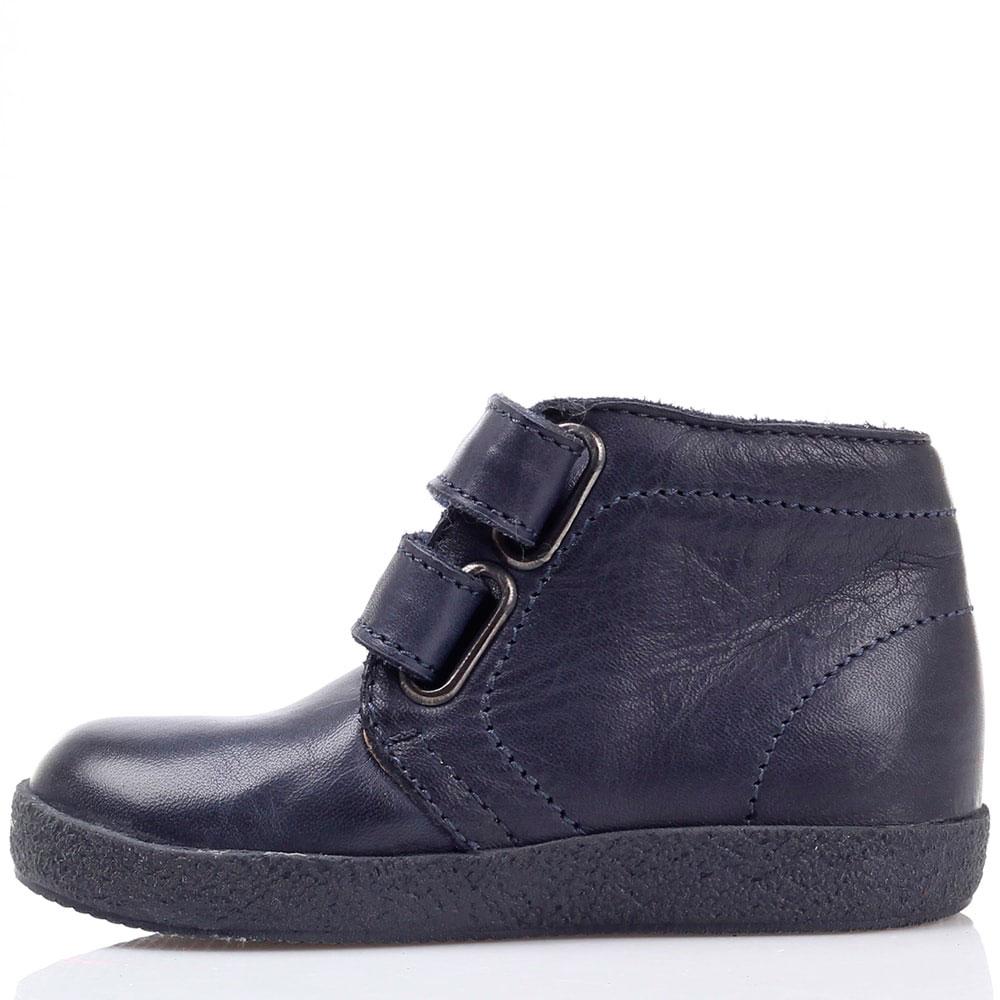 Синие кожаные ботинки Falcotto на липучках