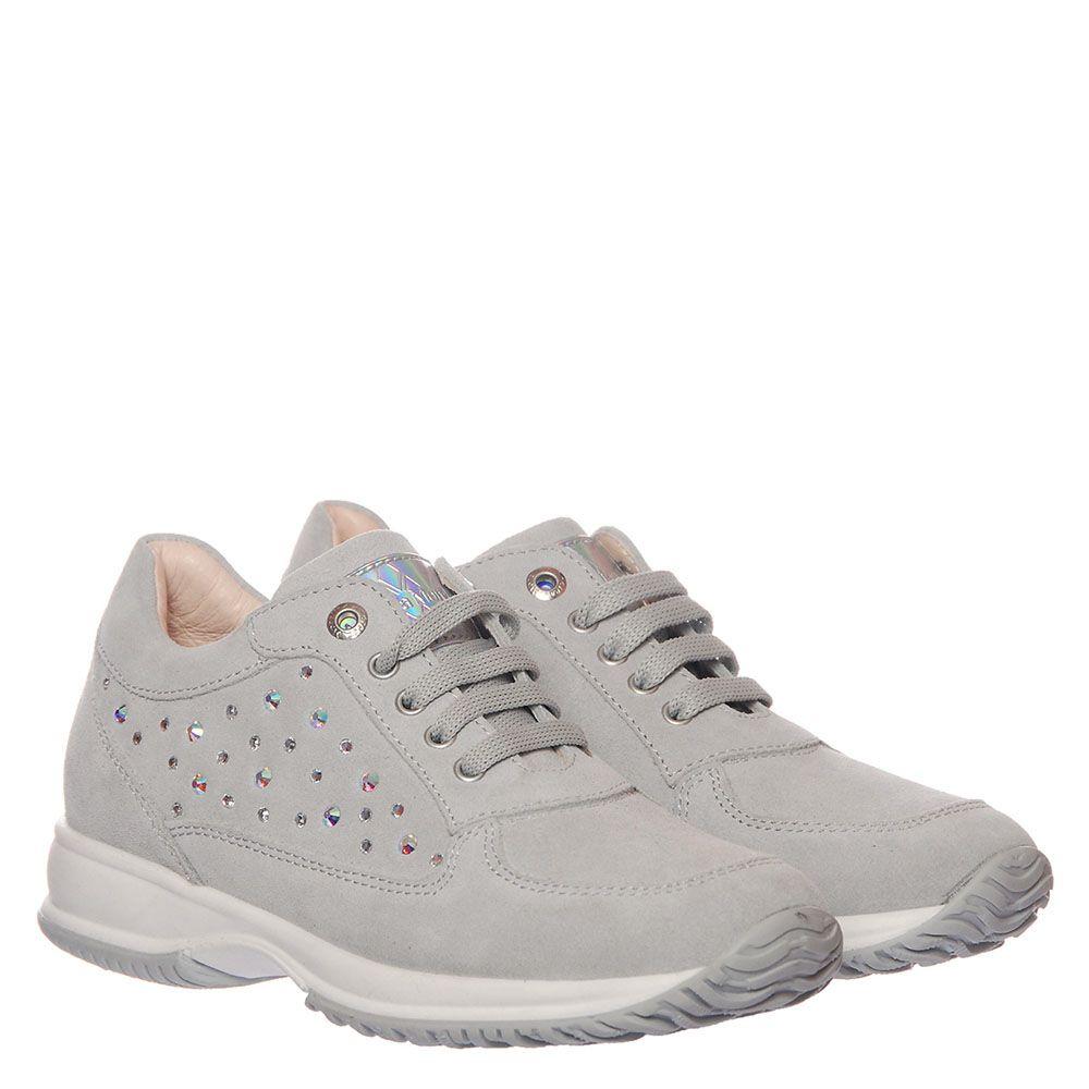 Замшевые кроссовки серого цвета Andrea Morelli со стразами