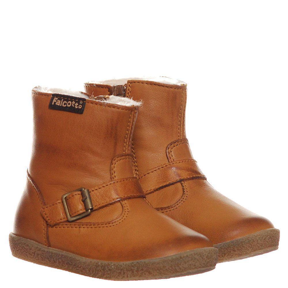 Ботинки на молнии из кожи коричневого цвета Falcotto на меху