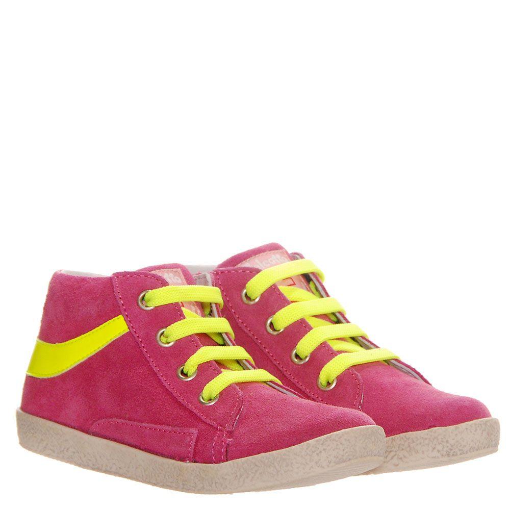 Замшевые кеды яркого розового цвета Falcotto с желтыми шнурками