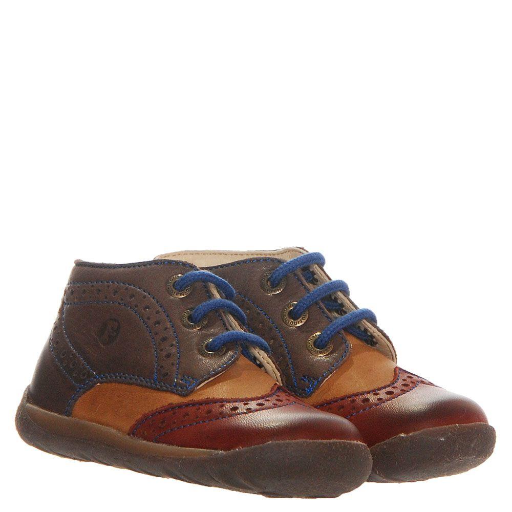 Кожаные ботинки-броги Falcotto коричневого цвета с красным носочком