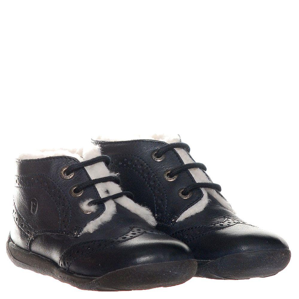 Кожаные ботинки-броги синего цвета Falcotto на меху