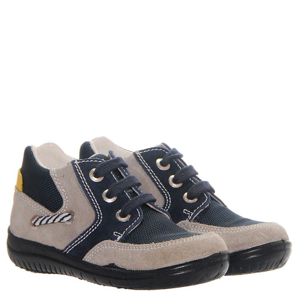 Высокие кроссовки из замши серого цвета с синими текстильными вставками Falcotto