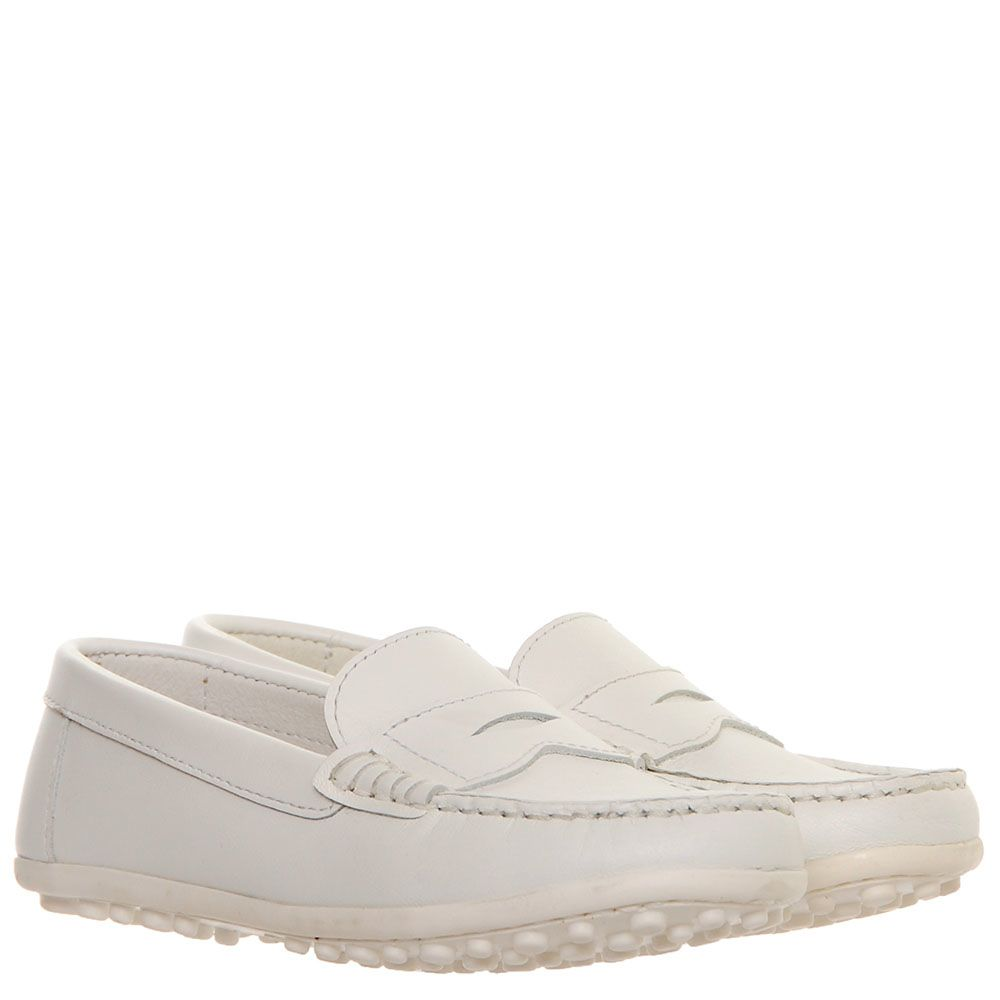 Белые кожаные мокасины Gallucci