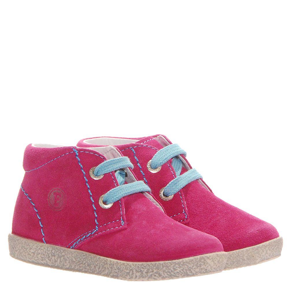 Розовые кеды из замши Falcotto с голубыми шнурками