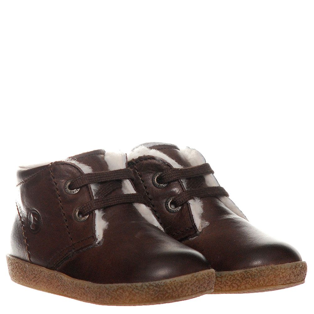 Высокие кожаные ботинки на меху Falcotto коричневого цвета