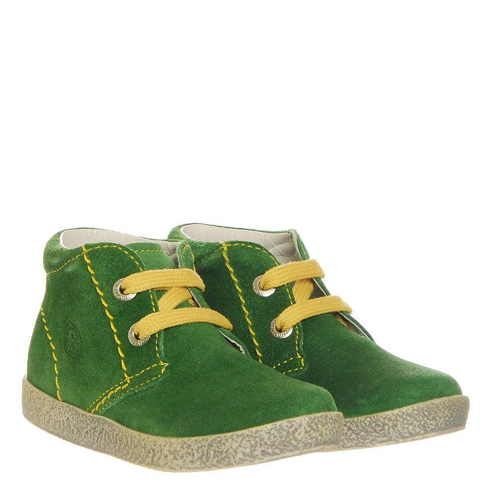 Замшевые кеды зеленого цвета Falcotto на желтой шнуровке