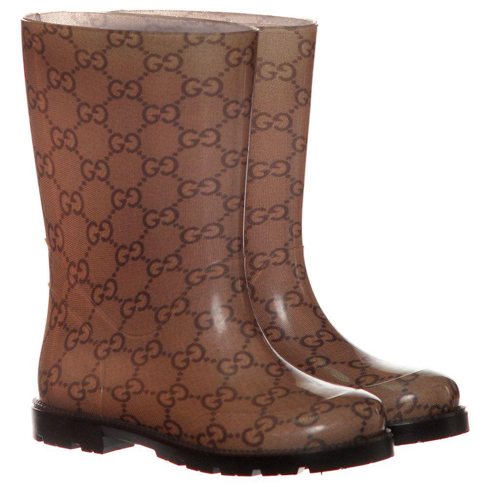 Резиновые спаоги с фирменным принтом Gucci коричневого цвета