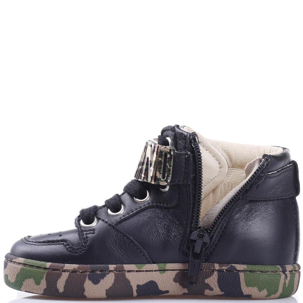 Высокие кроссовки Love Moschino из гладкой кожи черного цвета