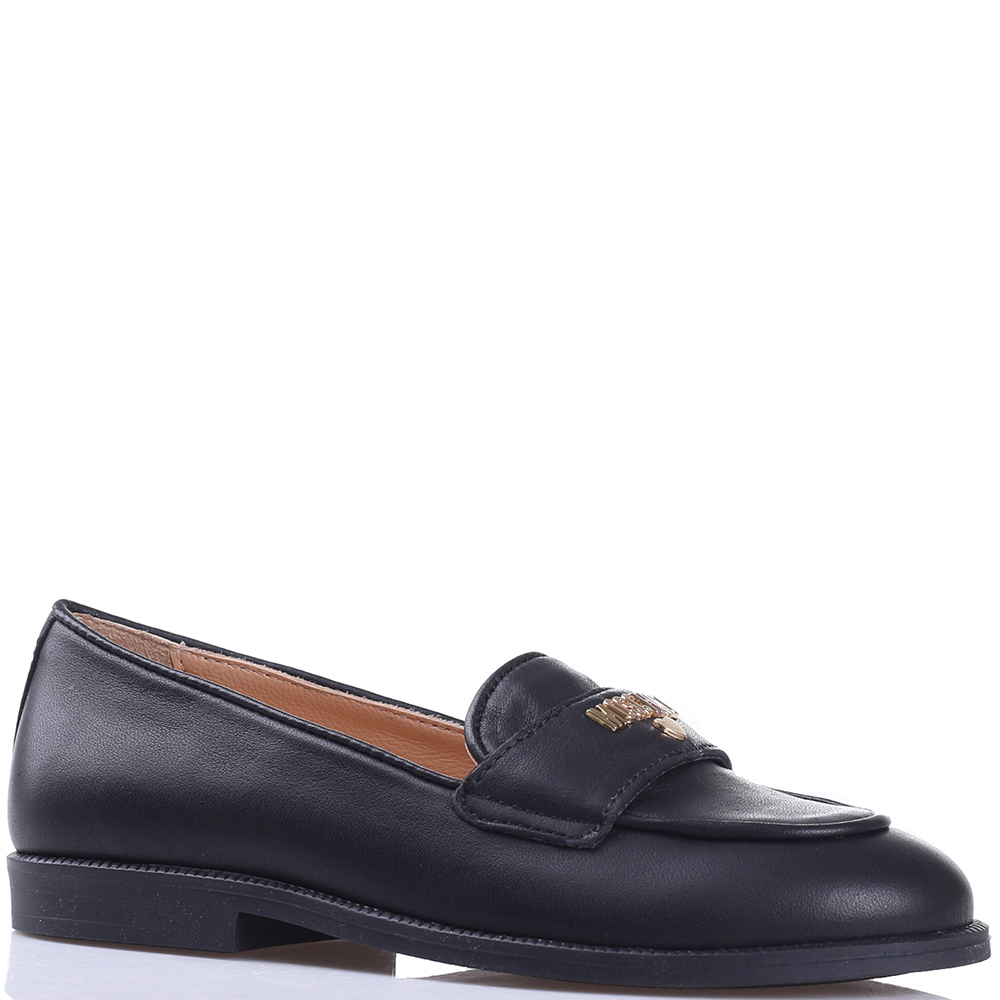Черные туфли Moschino с брендовой надписью