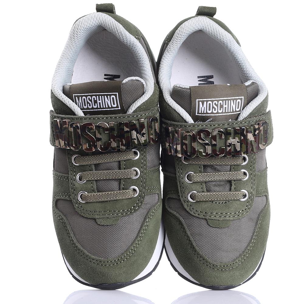 Замшевые кроссовки Love Moschino цвета хаки