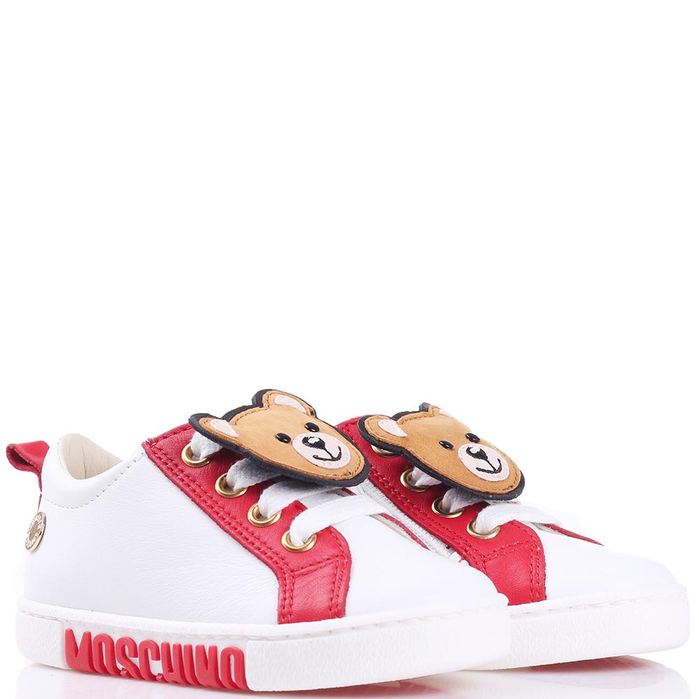 Белые кеды Love Moschino с красными вставками