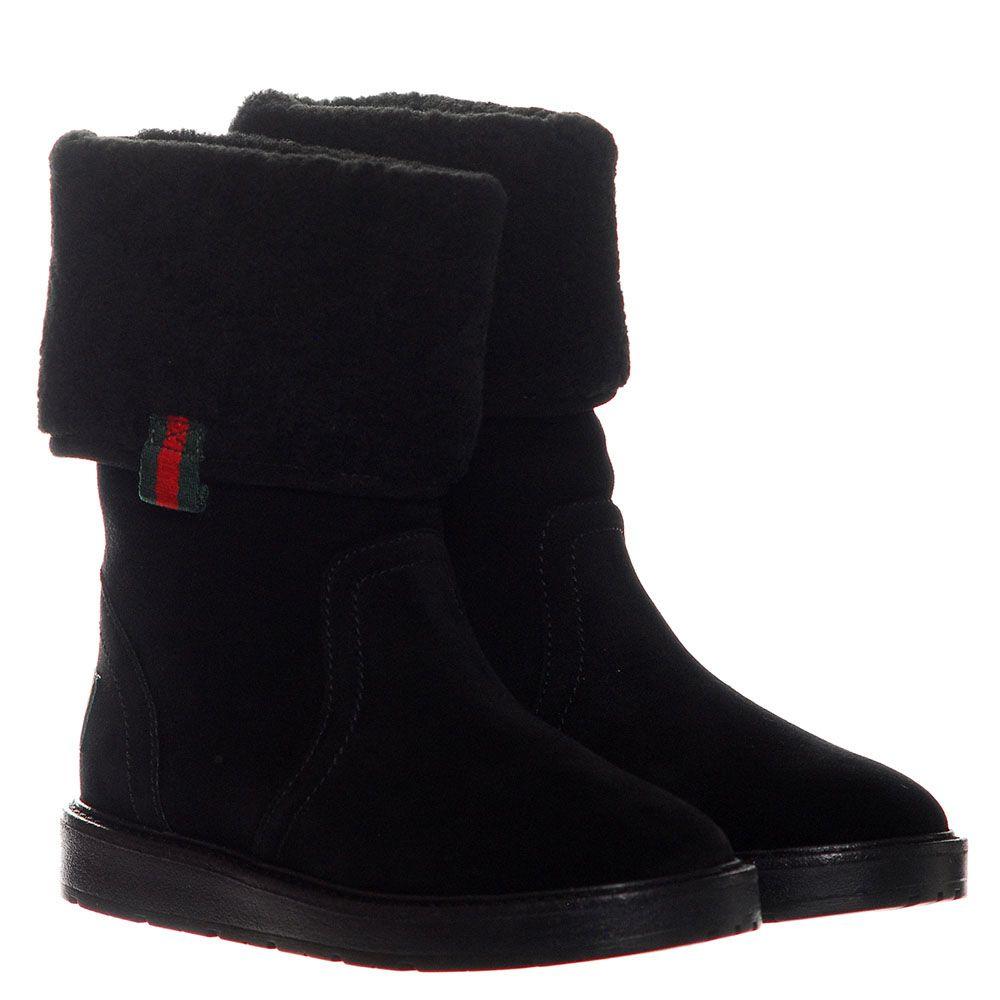 Замшевые сапоги черного цвета Gucci с логотипом