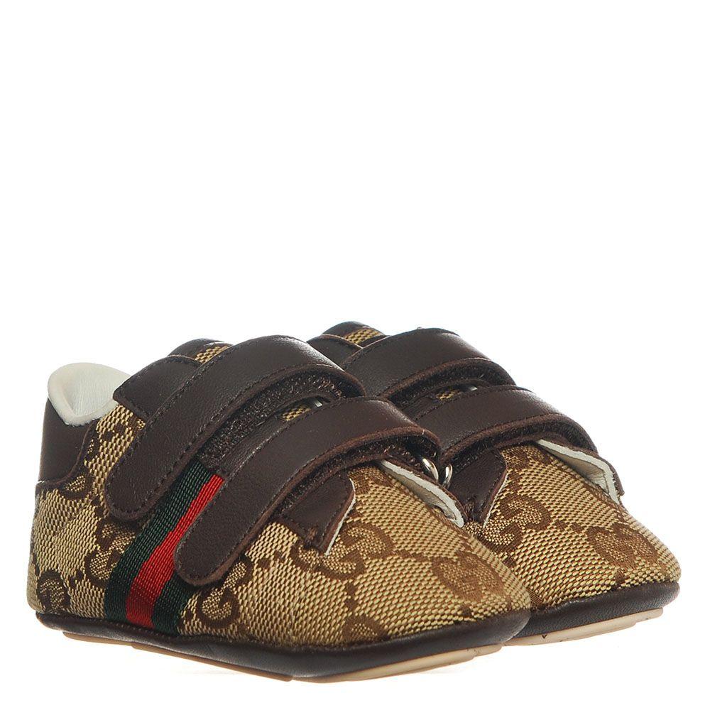 Пинетки из брендированного текстиля Gucci коричневого цвета на липучках