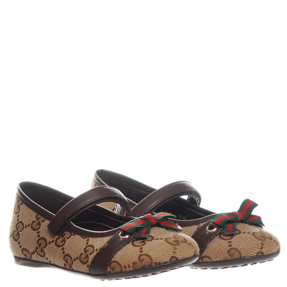 Туфли на ремешке с липучкой из текстиля Gucci коричневого цвета с фирменным бантом