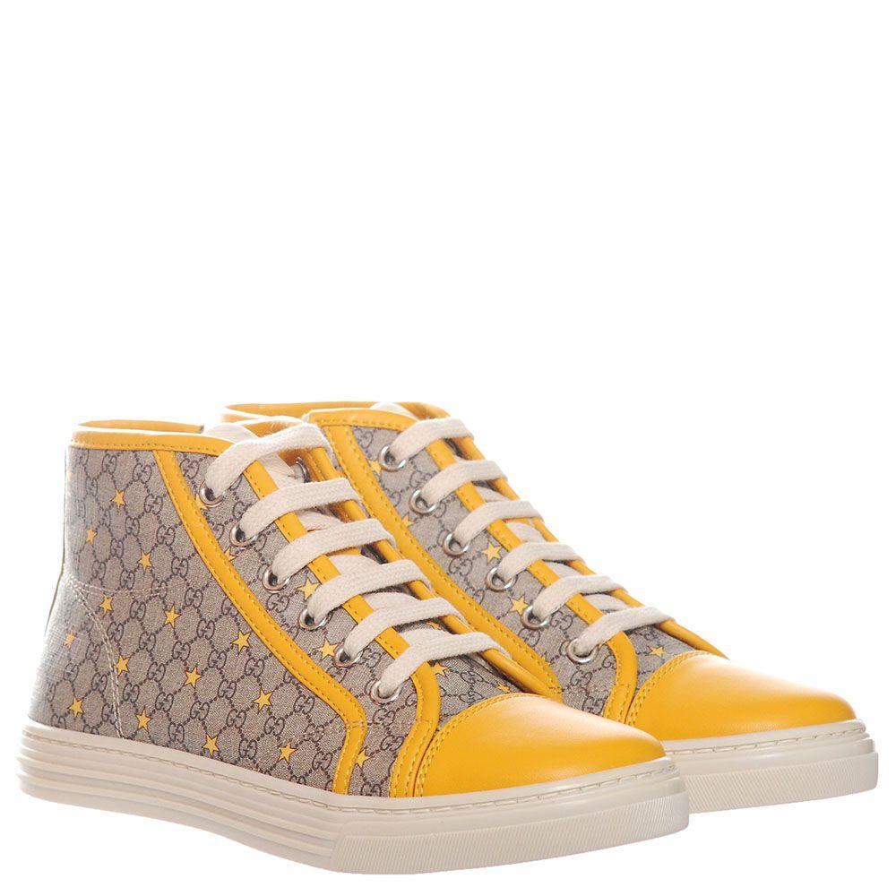 Высокие кеды из брендированного текстиля с кожаным носиком желтого цвета Gucci