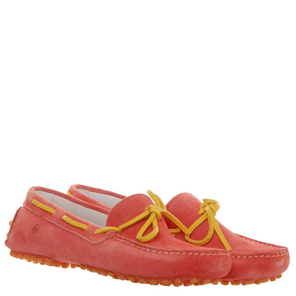 Розовые замшевые мокасины с желтым шнурочком Naturino