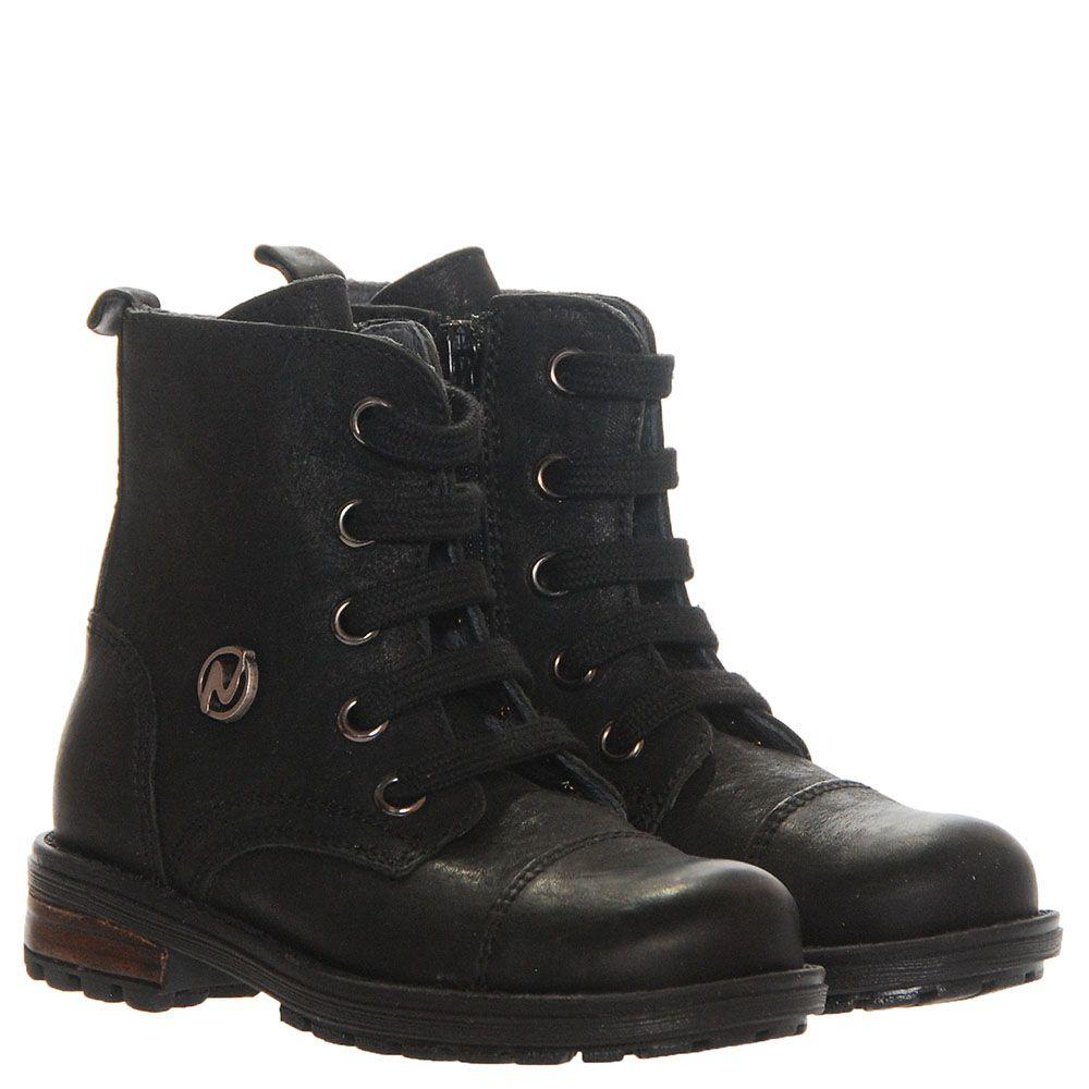 Высокие кожаные ботинки черного цвета Naturino на шнуровке и молнии