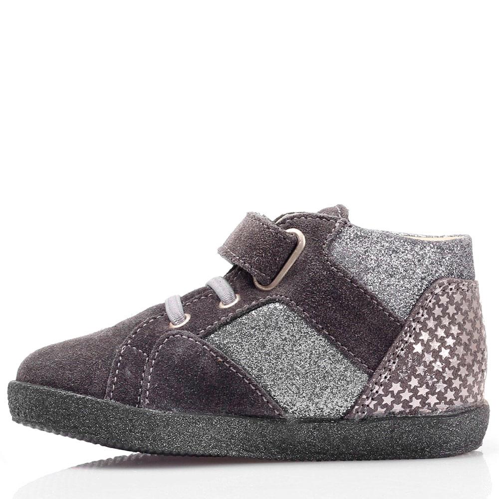 Замшевые ботинки серого цвета Falcotto на толстой подошве