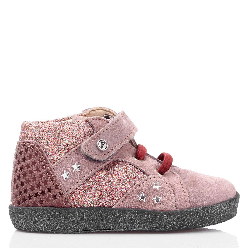 Ботинки из розовой замши Falcotto с глиттером