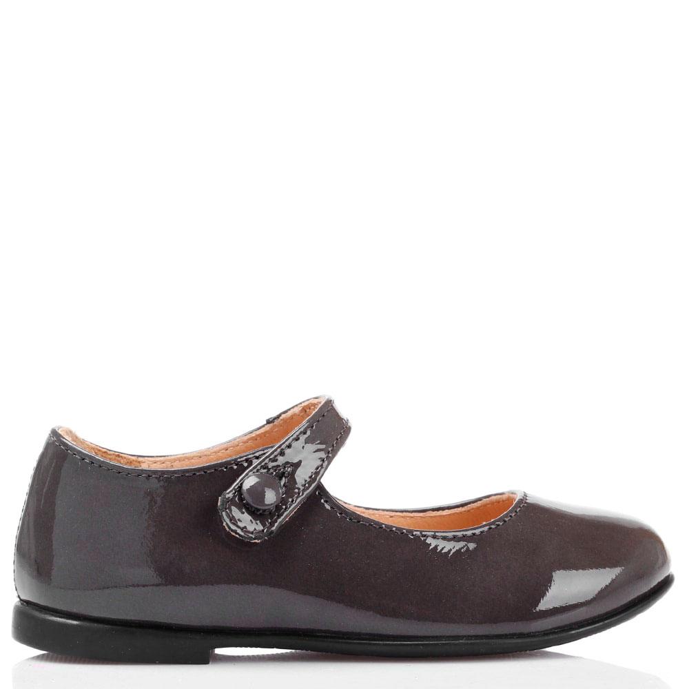 Туфли из лаковой кожи серого цвета Naturino на ремешке