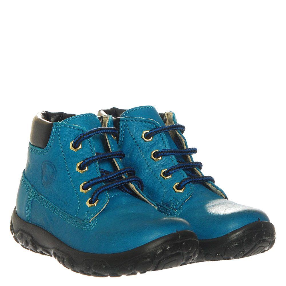 Кожаные ботинки бирюзового цвета Falcotto на шнуровке
