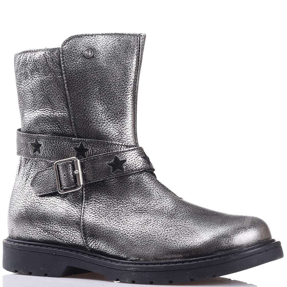 Серебристые ботинки Naturino с ремешком