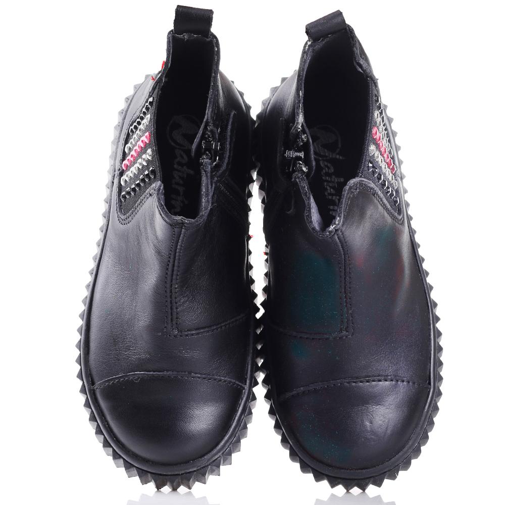 Черные ботинки Naturino со стразами на резинке