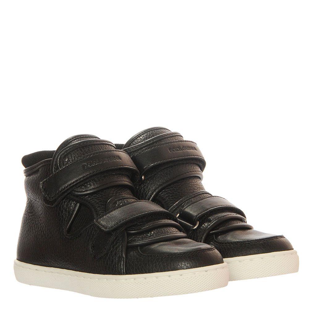 Черные кожаные кеды на липучках Dolce&Gabbana