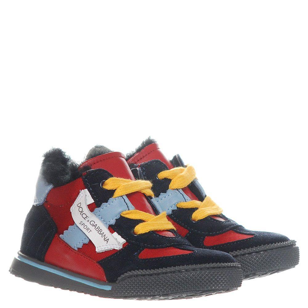 Замшевые кроссовки на меху Dolce&Gabbana с текстильными вставками