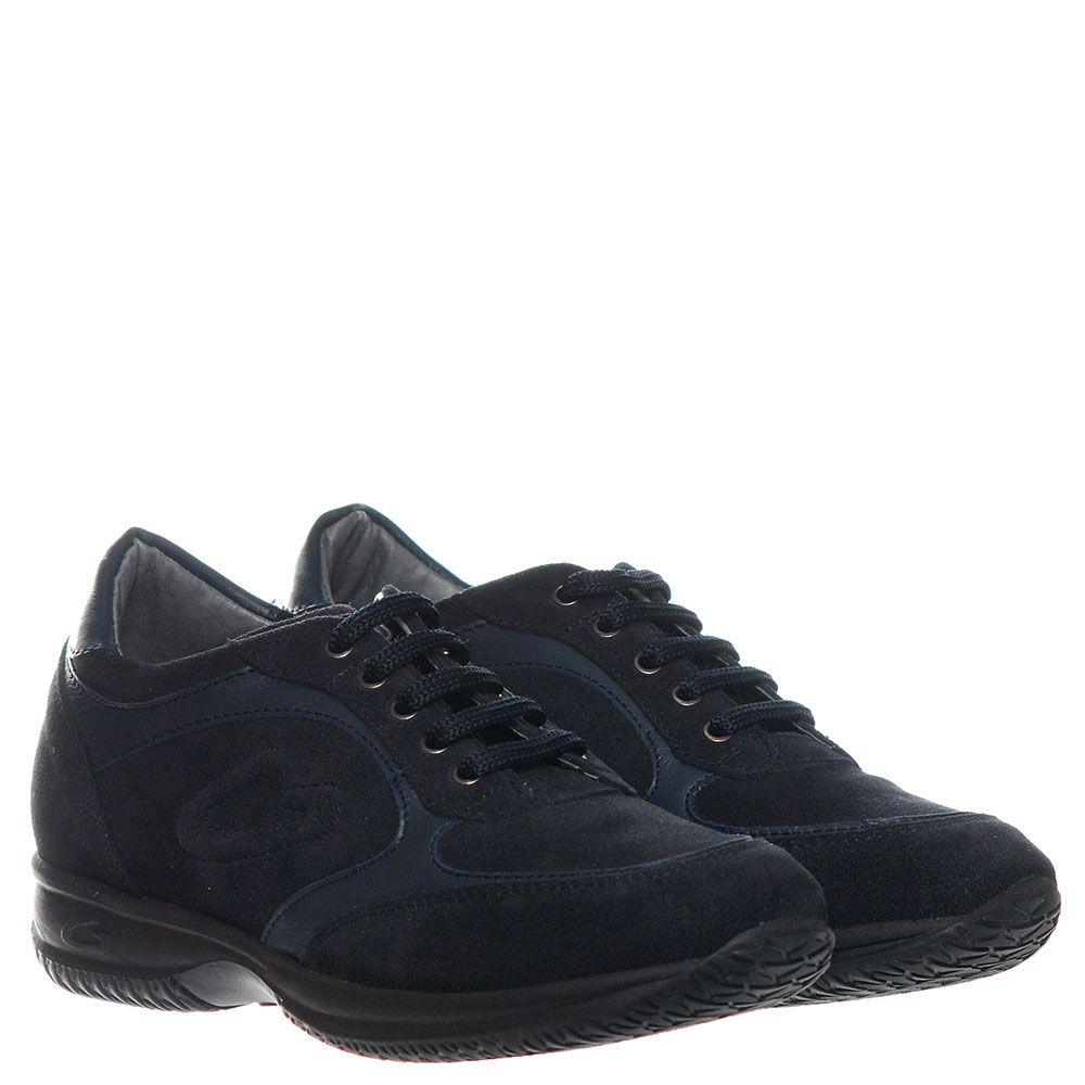 Кроссовки из замши синего цвета с кожаными вставками Guardiani