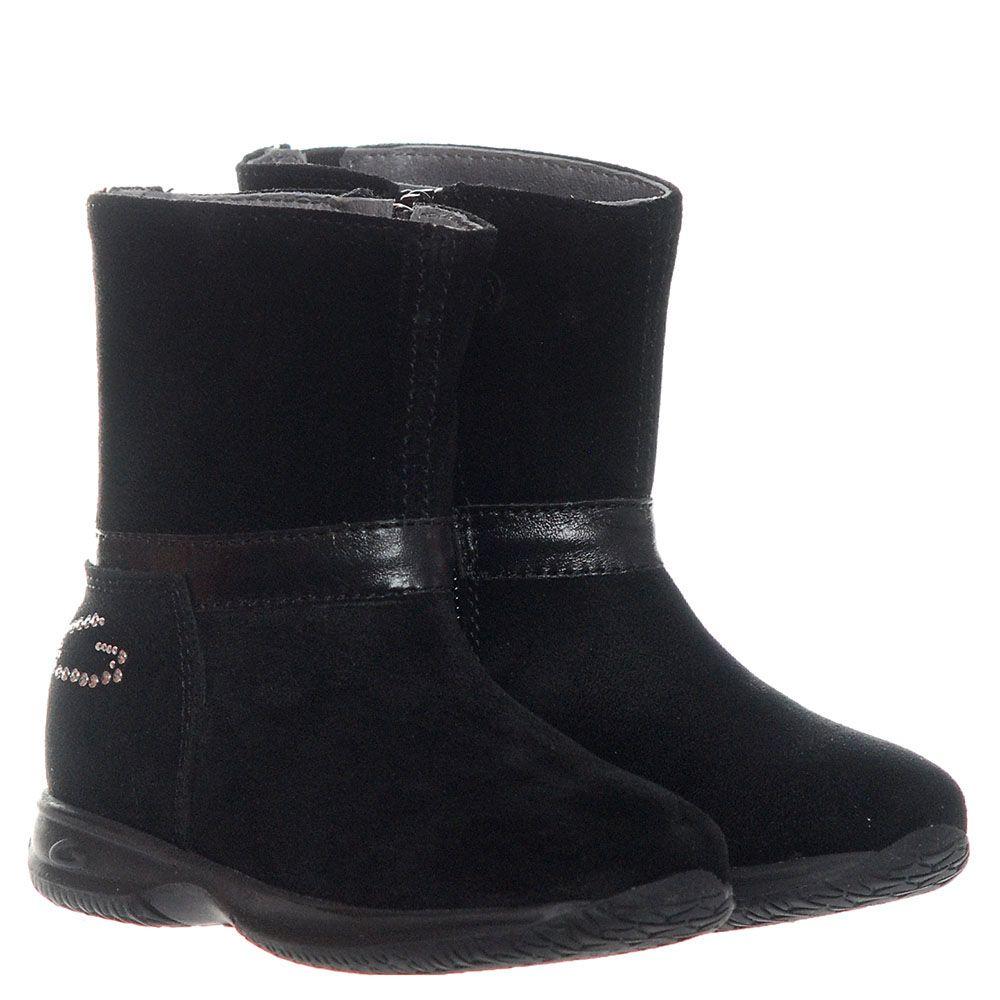 Замшевые ботинки черного цвета с логотипом Guardiani на молнии