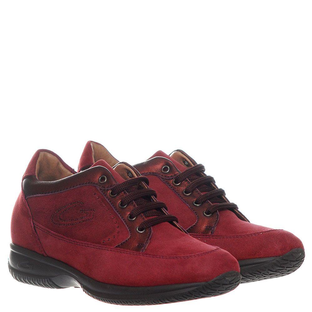 Кроссовки из замши Guardiani красного цвета с логотипом