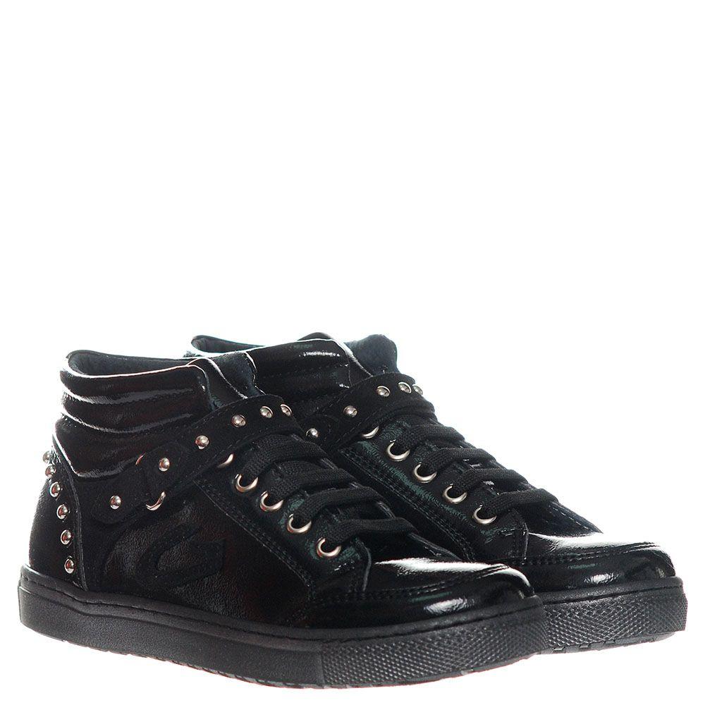 Кроссовки из лаковой кожи черного цвета Guardiani с замшевыми ремешками в металлических заклепках