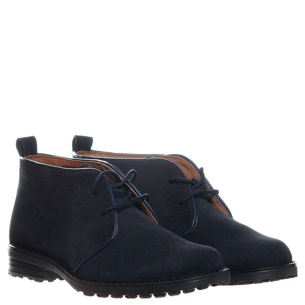 Синие замшевые ботинки на шнуровке Guardiani