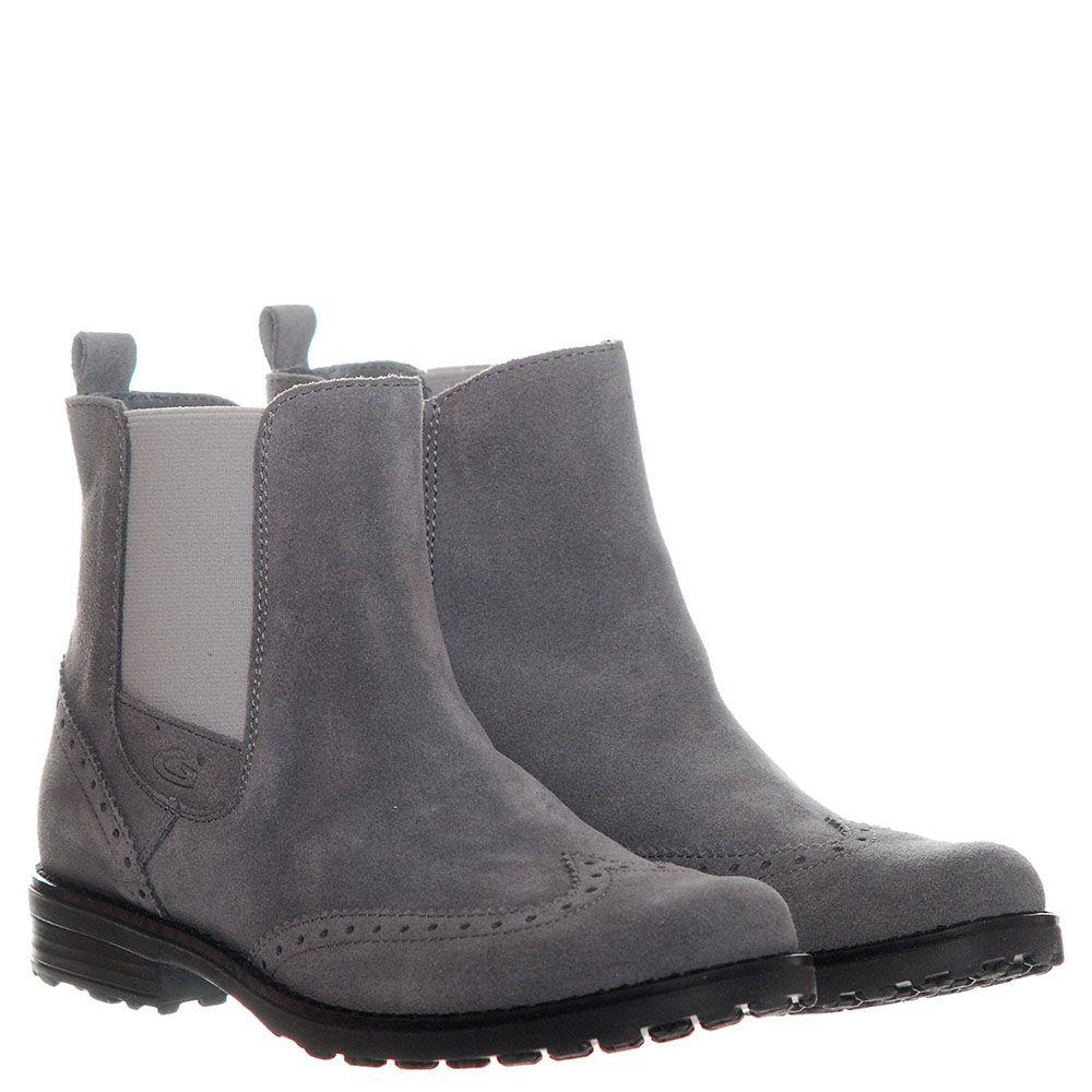 Высокие замшевые ботинки-броги серого цвета с перфорацией Guardiani на резинке и молнии