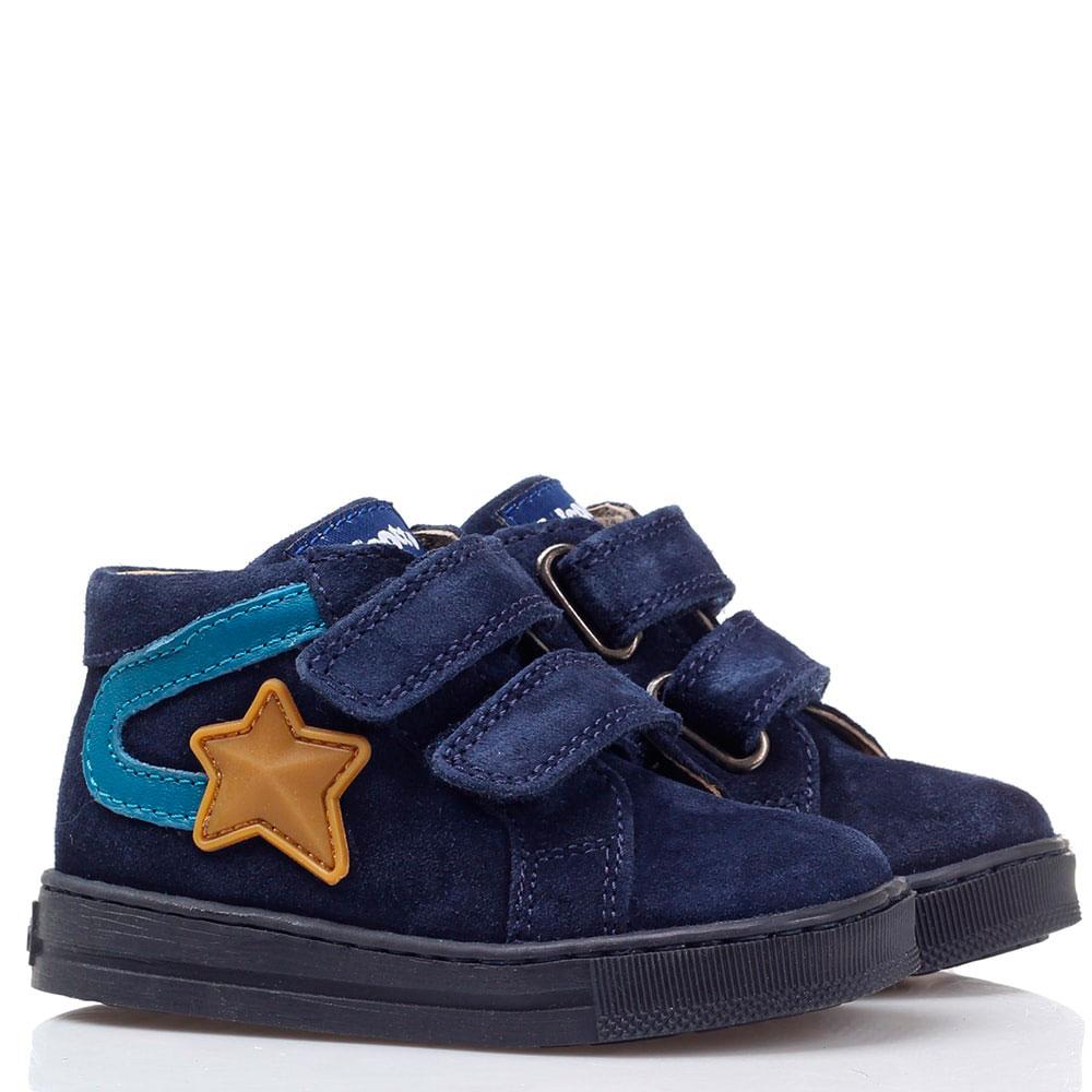 Синие замшевые ботинки на липучках Falcotto с аппликацией