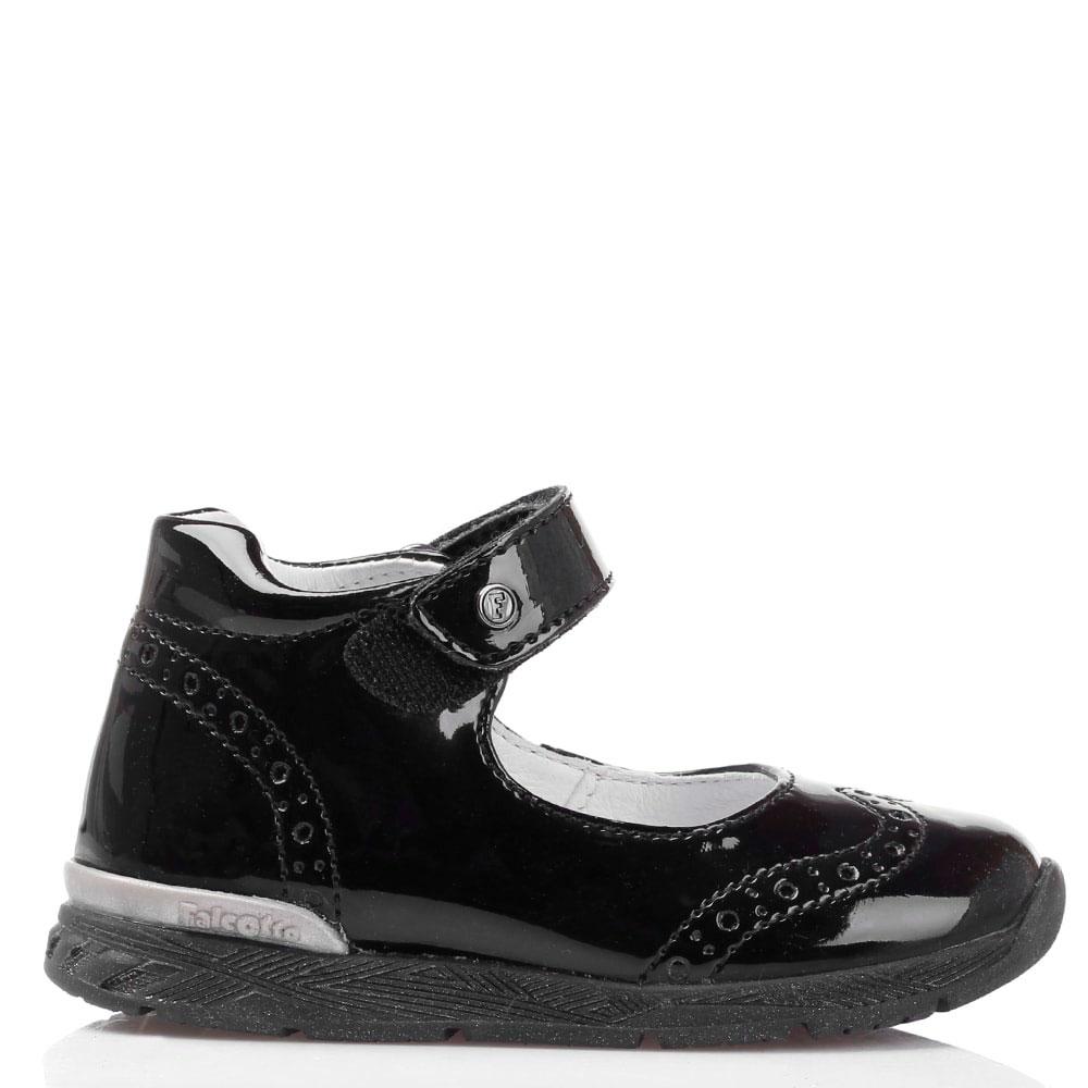 Черные лаковые туфли на ремешке Falcotto с декоративной перфорацией