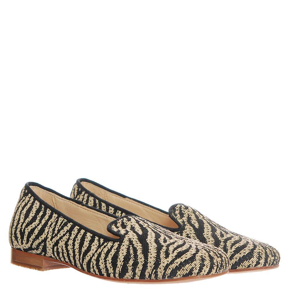 Туфли-лоферы из текстиля Florens с анималистичным принтом под зебру