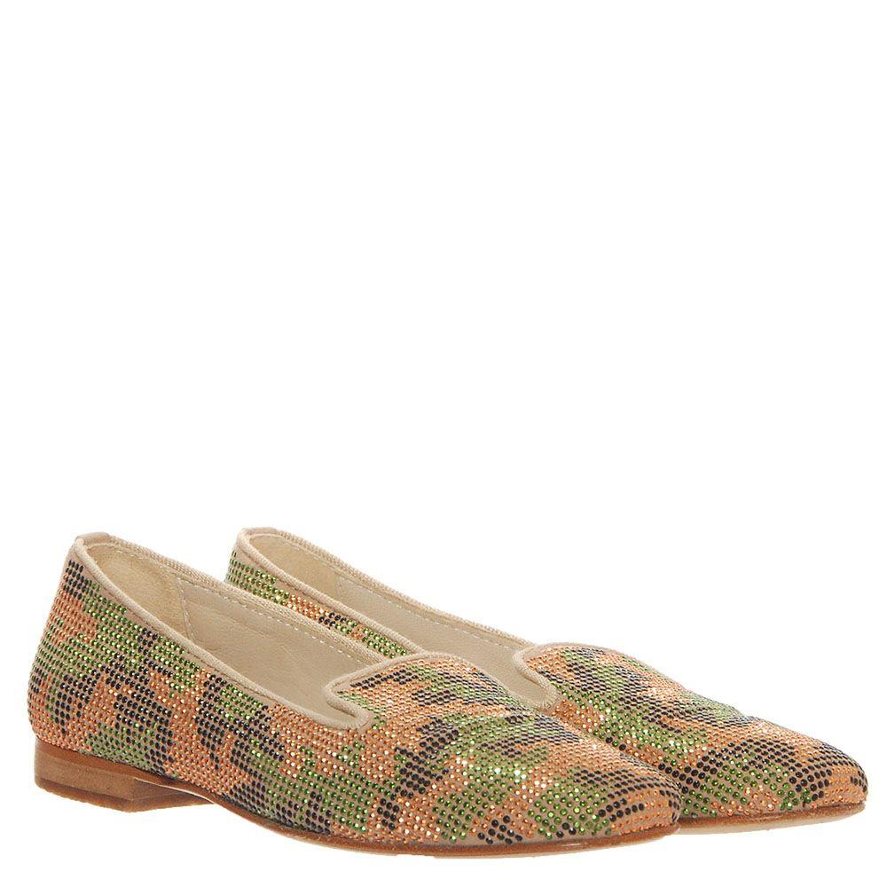 Кожаные туфли-лоферы Florens с декором из мелких разноцветных заклепок