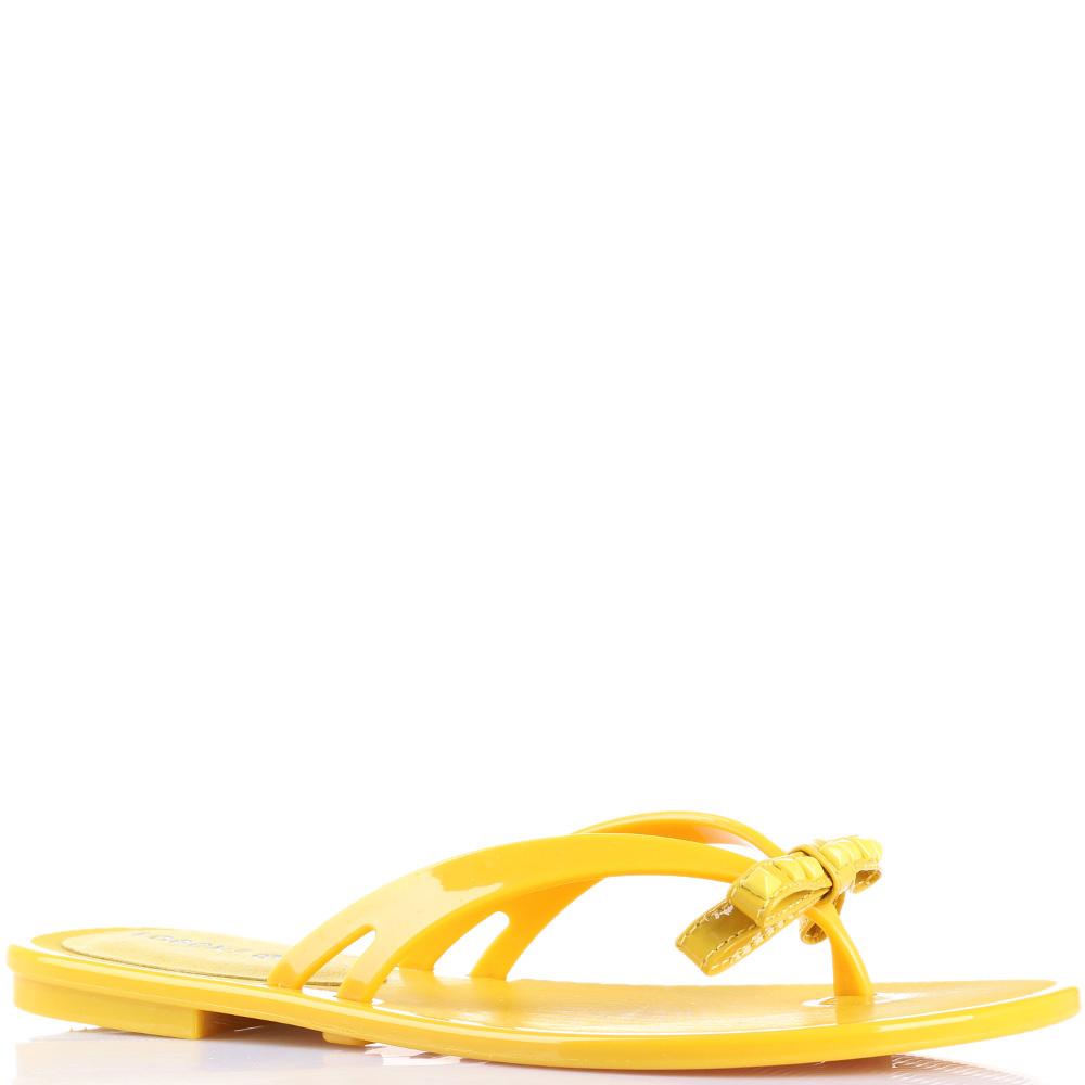Резиновые сланцы Florens желтого цвета с бантиком